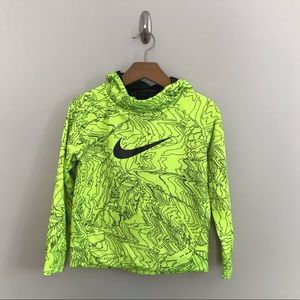 Nike Boys Neon Yellow Sweatshirt Hoodie Size 6 M